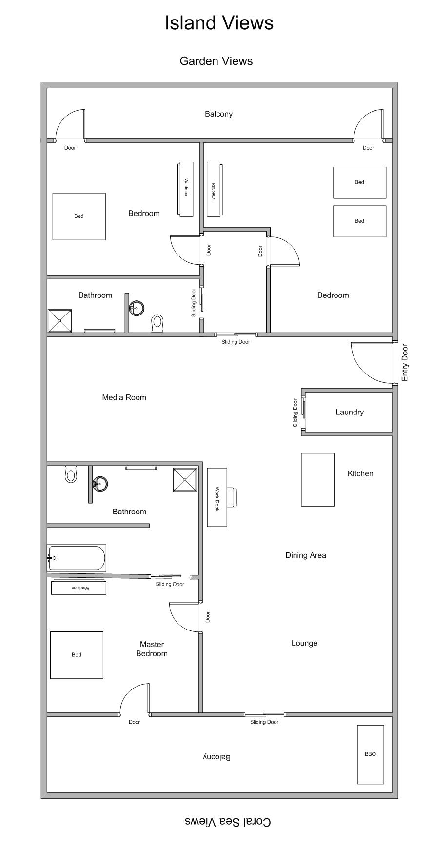 Island Views 11 - Luxury 3 Bedroom Apartment Floor Plan