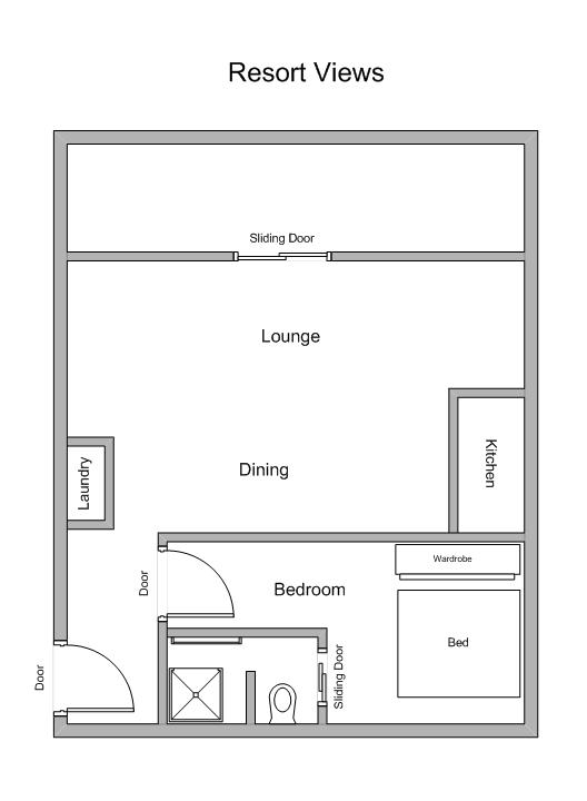 1 Bedroom Private Apartment Floor Plan